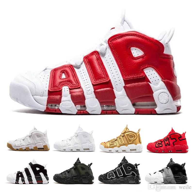 sale retailer 05185 e1154 2019 Air Cushion More Uptempo Basketball Shoes For Men Women 96 QS Olympic  Varsity Maroon 3M SUP Black Red Gold Scottie Pippen Sports Sneakers From  Weile, ...
