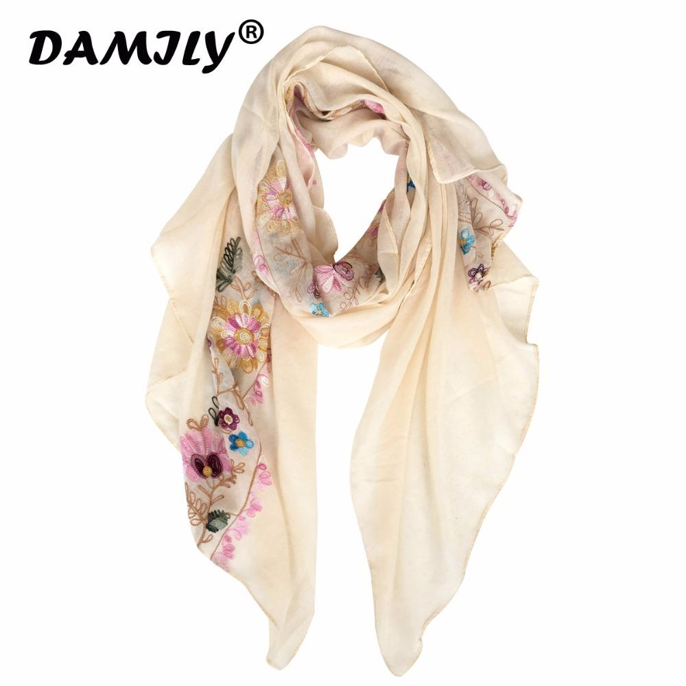 6ab14fe621f 2018 Embroidered Floral Scarf Women New Brand Long Shawls Bandana Cotton  Scarves and Wraps Foulard Sjaal Muslim Hijab