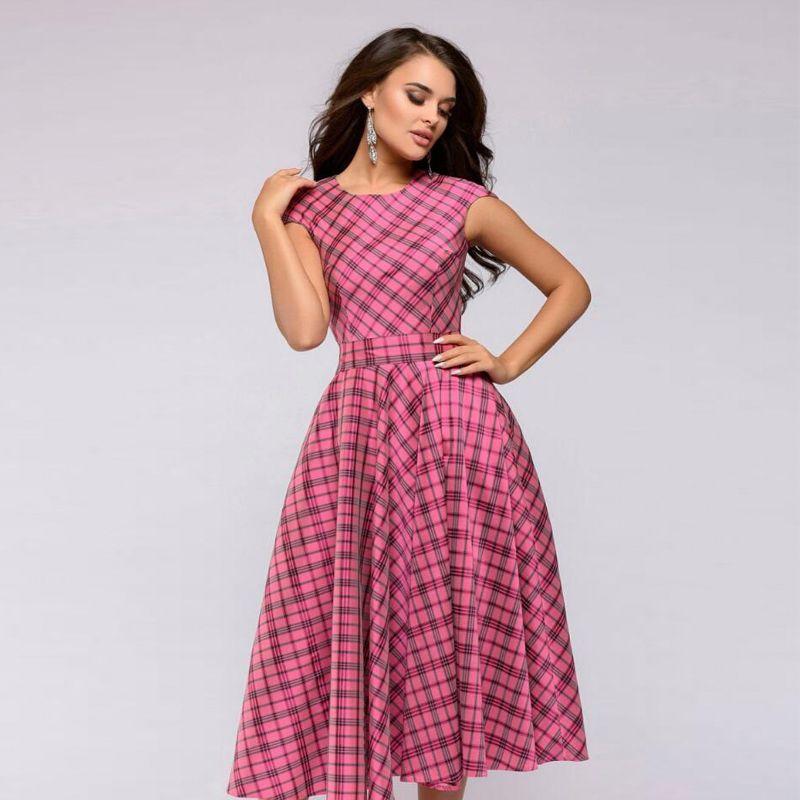 e40967e5cc66 Women Casual Knee Length Dress 2018 Scottish Plaid Sleeveless Printing Summer  Dress For Offical Lady Women Loose Vestidos Cheap Summer Dresses Strapless  ...