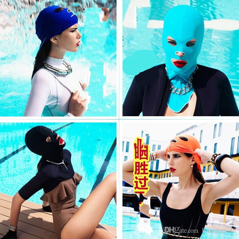 Color Sunscreen Swimming Caps Nylon Head Cover Ultraviolet Proof Snorkeling Equipment Diving Breathable Comfort Fashion Face Gini 10fc W