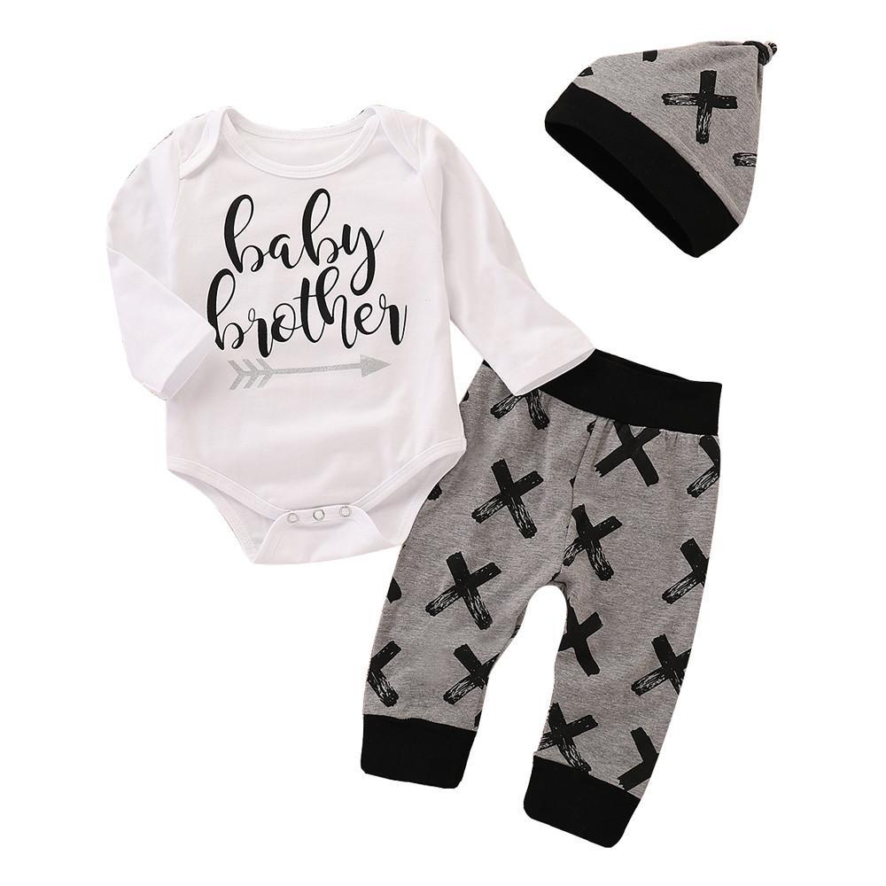 5696b21989e85 Acheter Livraison Gratuite De Mode Nouveau Né Infant Bébé Garçon Vêtements  Coton Lettre Barboteuse + Pantalon Chapeau Tenues Set Mignon Chaud Automne  Hiver ...