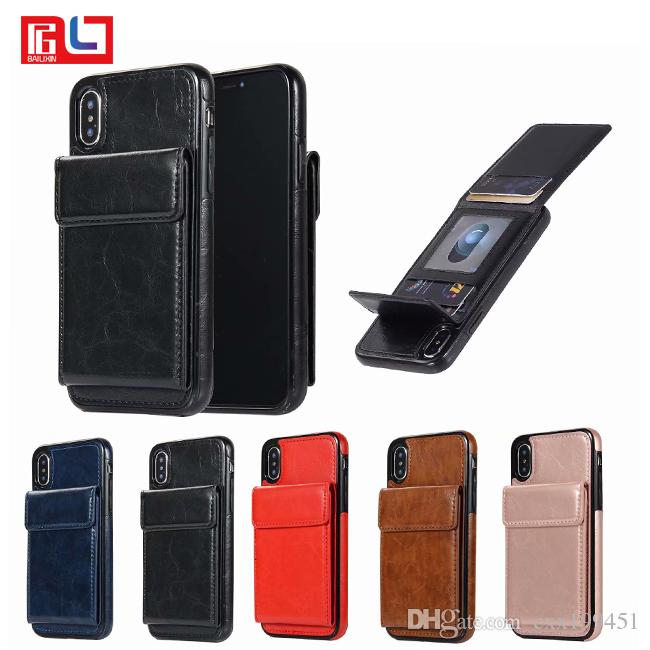 new styles 02453 a70fa Leather Case Back Cover with Credit Card Holder Protective Case for Apple  iPhone 7 8 7plus 8 plus iphone X