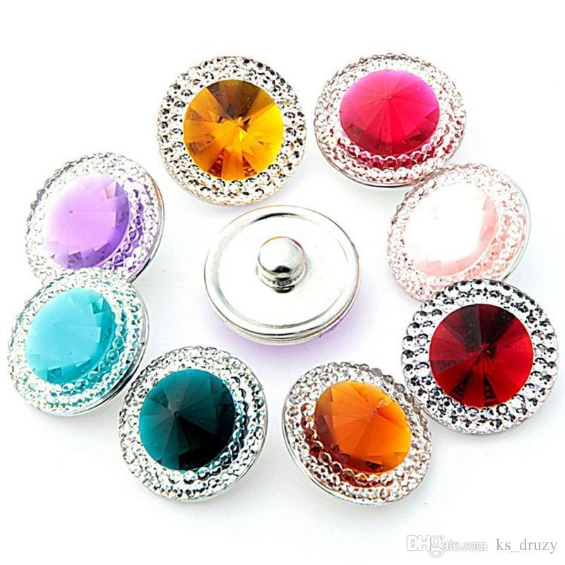 NOOSA Ginger Snap Chunks Acrilico Bling Bling 18 MM Bottoni a pressione in vetro DIY Snap regalo gioielli braccialetto
