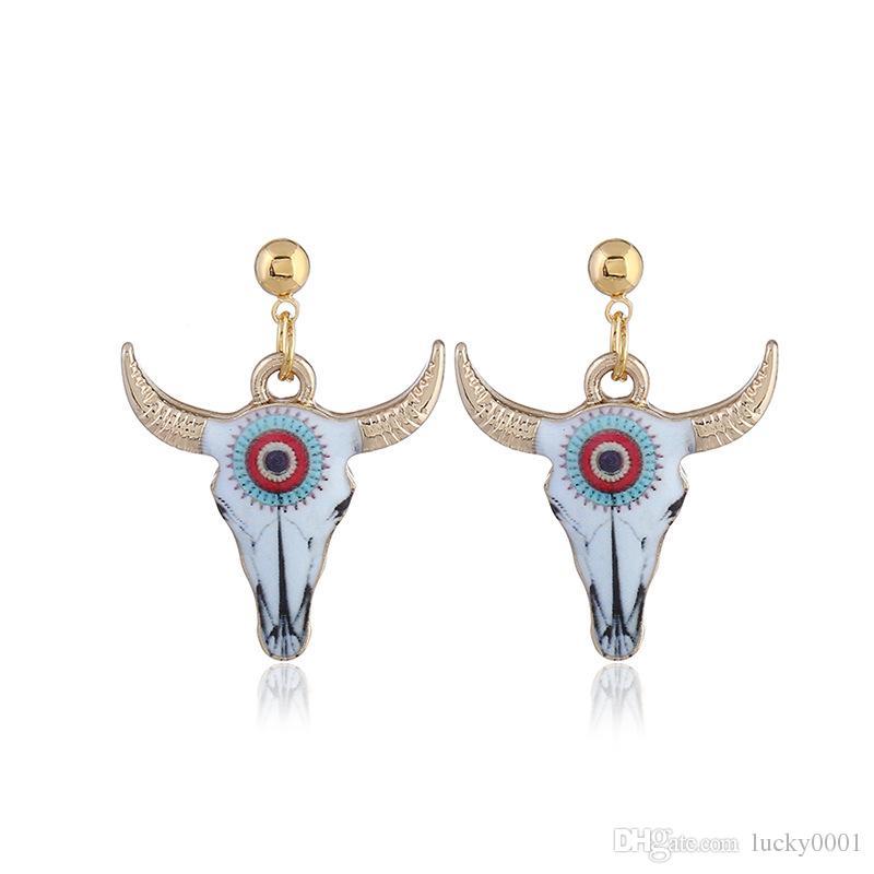 gioielli estivi ciondola orecchini toro con corna testa orecchini animali da donna il trasporto di goccia regalo del partito all'ingrosso e al dettaglio