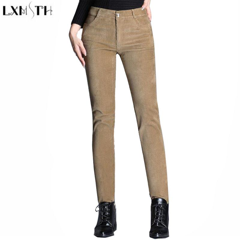 2019 LXMSTH Factory Outlet Corduroy Pants Womens Autumn New Pencil Trousers  Women 2017 Plus Size High Waist Slim Thin Casual Pants From Sweatcloth be9553c4c8