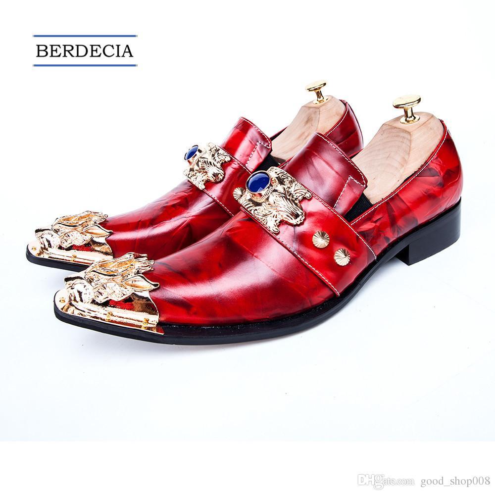 2018 Uomini d affari italiani di lusso scarpe a punta scarpe eleganti abito in metallo Fascino in vera pelle uomini scarpe da uomo rosso Plus Size
