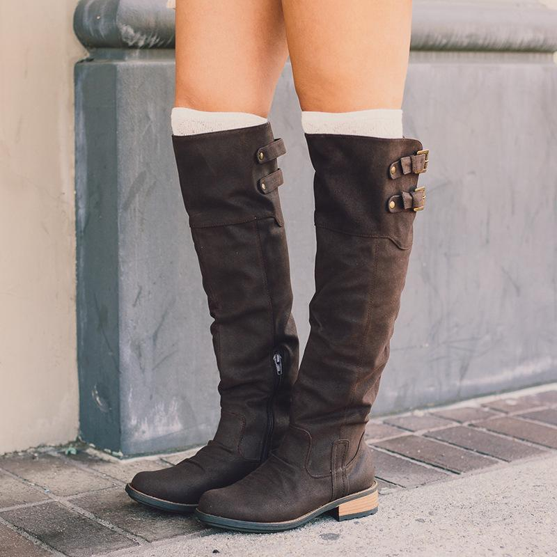 b9b08b7d296 Over The Knee Long Boots Women Faux Leather Vintage Thigh High Boots Low  Heels Platform Buckle Strap Ladies Shoes Plus Size Army Boots Peep Toe  Booties From ...