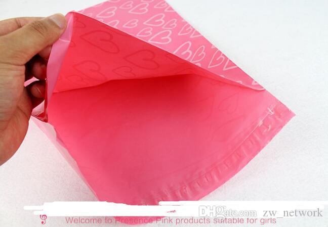 Pink Poly PE Mailer Express Bag 28*42cm Mail Bags love heart Envelope Self-Seal Plastic bags for Jewelry girls' product
