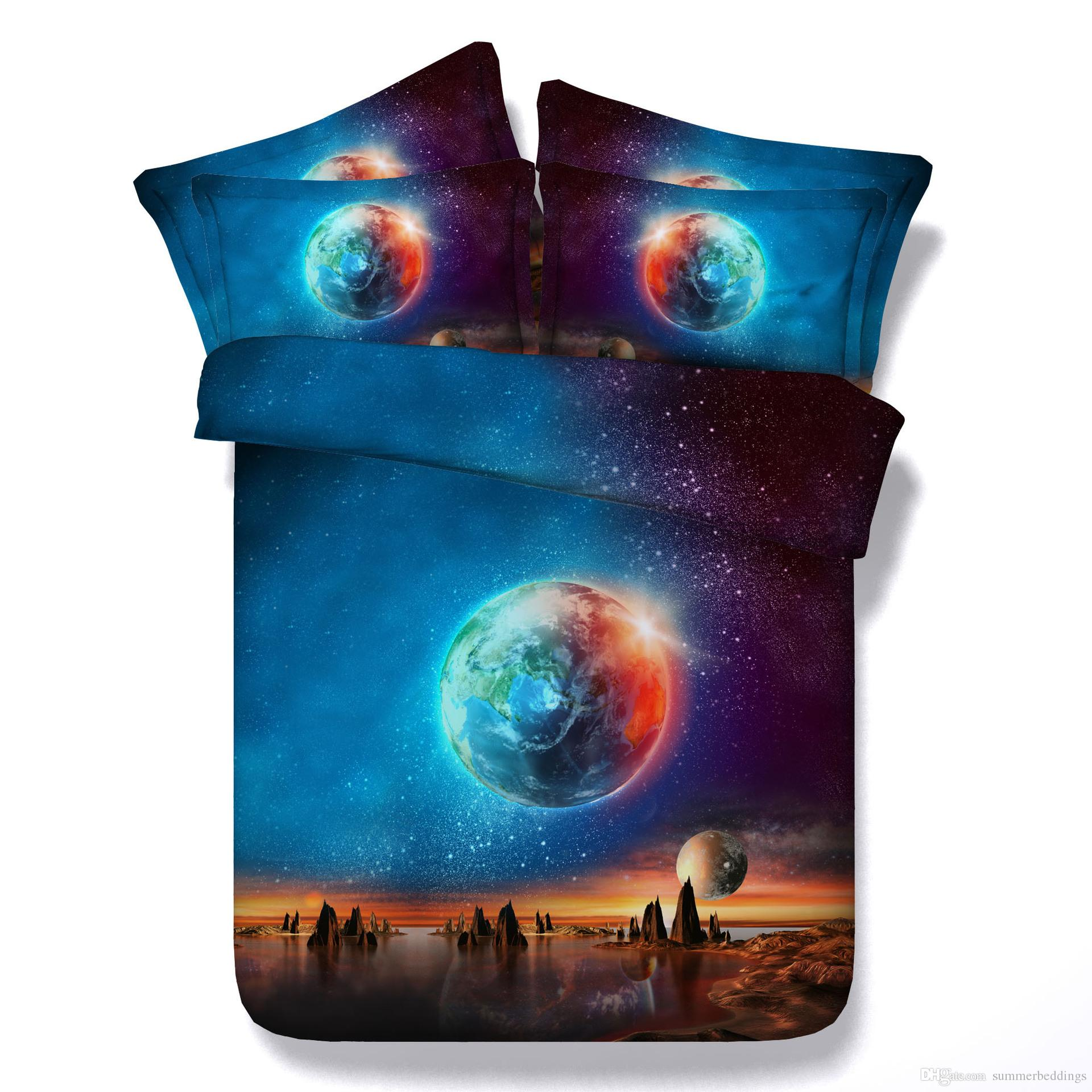 Großhandel 3d Galaxy Bettbezug Blau Bettwäsche Sets Queen Sterne