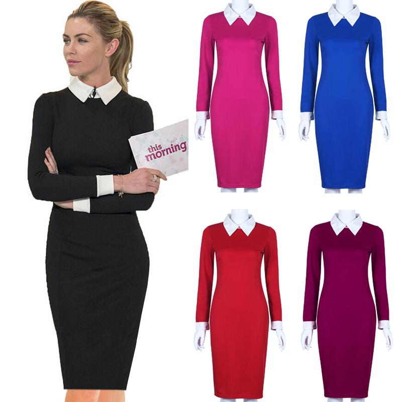 e1d7c46f315 Black Office Dresses Women 2018 Autumn New Arrivals Fashion Long Sleeve  Pencil Dress Ladies Casual Work Dress With White Collar Black Dresses On  Sale Knee ...