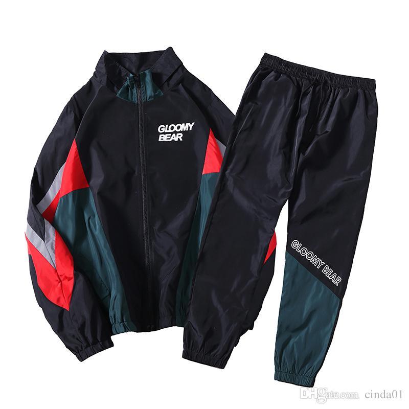 new product ee811 e1249 Mens Casual Trainingsanzüge getäfelten Jacken und lange Länge Hosen 2 Stück  männlich lose Outdoor-Sportbekleidung versandkostenfrei