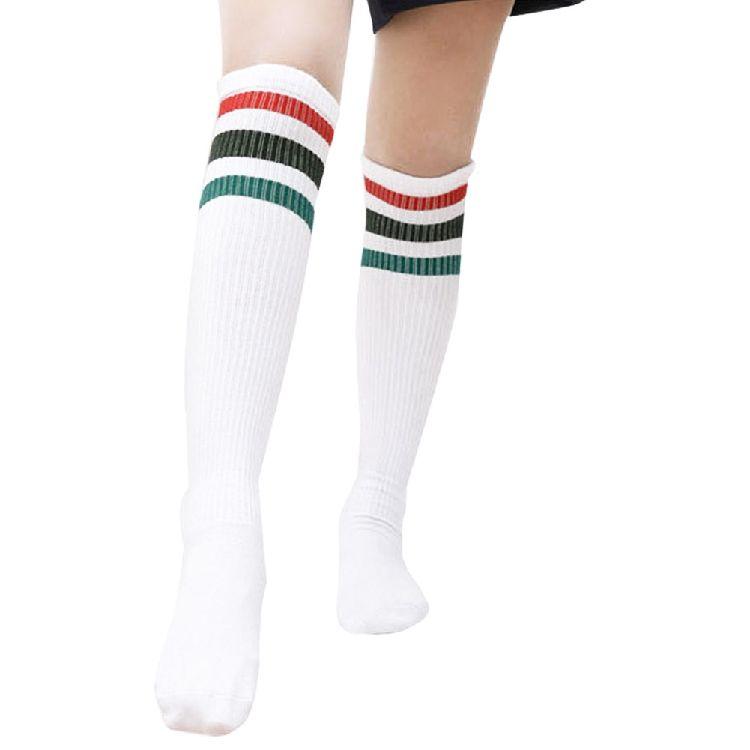8929079571c 2019 Cute Stripe Socks Thigh High Thick Lovely Girls Princess Knee High  Long Socks Women Over The Knee From Sikaku