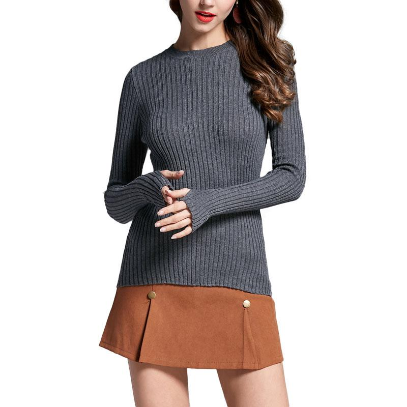 1763eabdbf4eba 2019 Women Sweater Pullover Basic Rib Knitted Cotton Tops Solid Crew Neck Essential  Jumper Long Sleeve Sweaters With Thumb Hole Tops From Beke