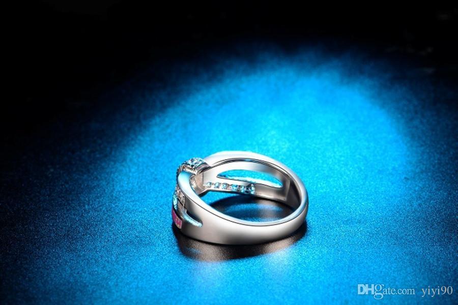 Мода крест белый круглый Cut Кристалл Радуга опал кольца белое золото заполнены женщин мужской коктейль подарок Подарок ювелирных изделий