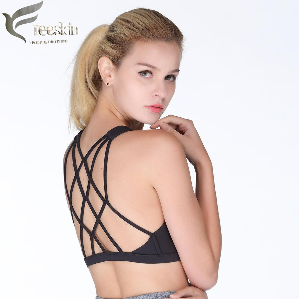 242fda38e2c 2019 Freeskin Sports Bra Top Strappy Back Active Athletic Gym Fitness Bra Plus  Size Women Sports Underwear Workout Clothes For Women From Curtainy