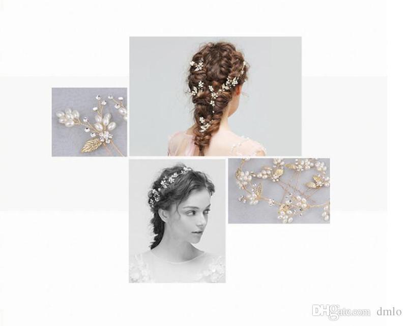 Wedding Headdress Bridal Headband Gold Hair Accessories Hair Jewelry for Bride Crystal Pearl Delicate Metal Leaf Pure Handmade Headpiece