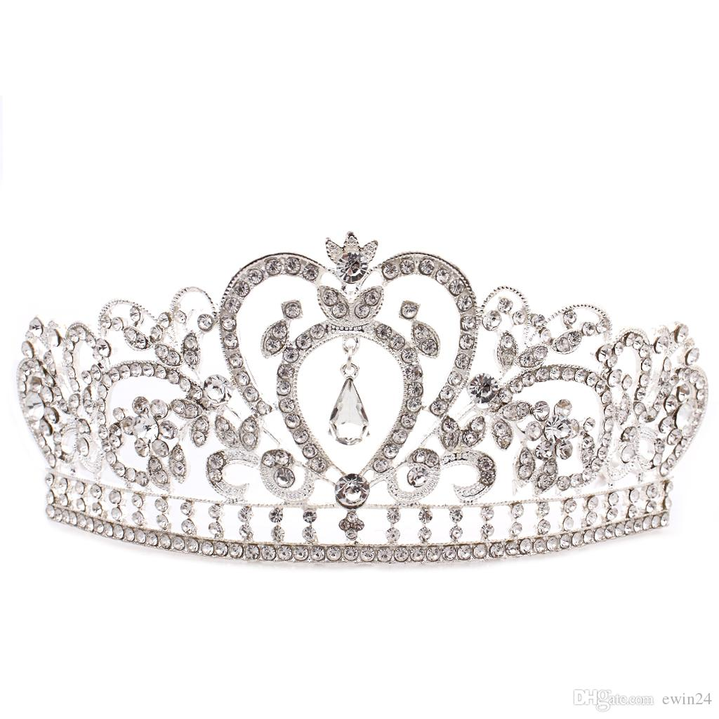 Elegant Tiara Crystal Hair Crown Heaband for Queen Bridal Princess in Wedding Party and Birthday Gifts