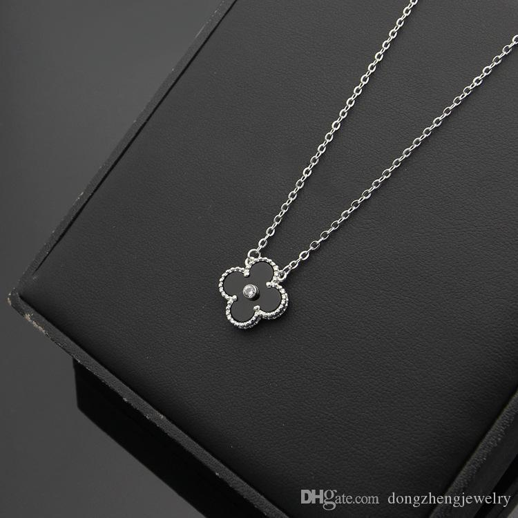 Nouveau collier pendentif en acier titane 316L avec fleur et diamant pour les femmes collier de mariage en blanc noir rouge vert bleu couleur