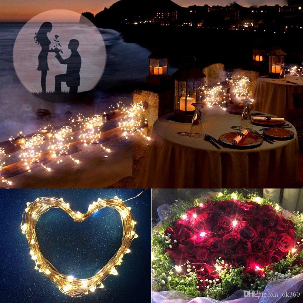 10M 100leds Chaîne extérieure LED d'énergie solaire de fil de cuivre allume 7 modes de couleur 2 imperméables IP65 pour la décoration de mariage / fête