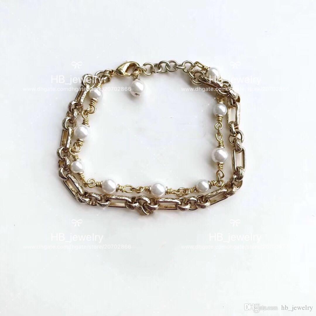 Популярный модный бренд высокой версии двойной жемчужный браслет для леди дизайн женщин партии свадьбы роскошные ювелирные изделия для невесты с коробкой.