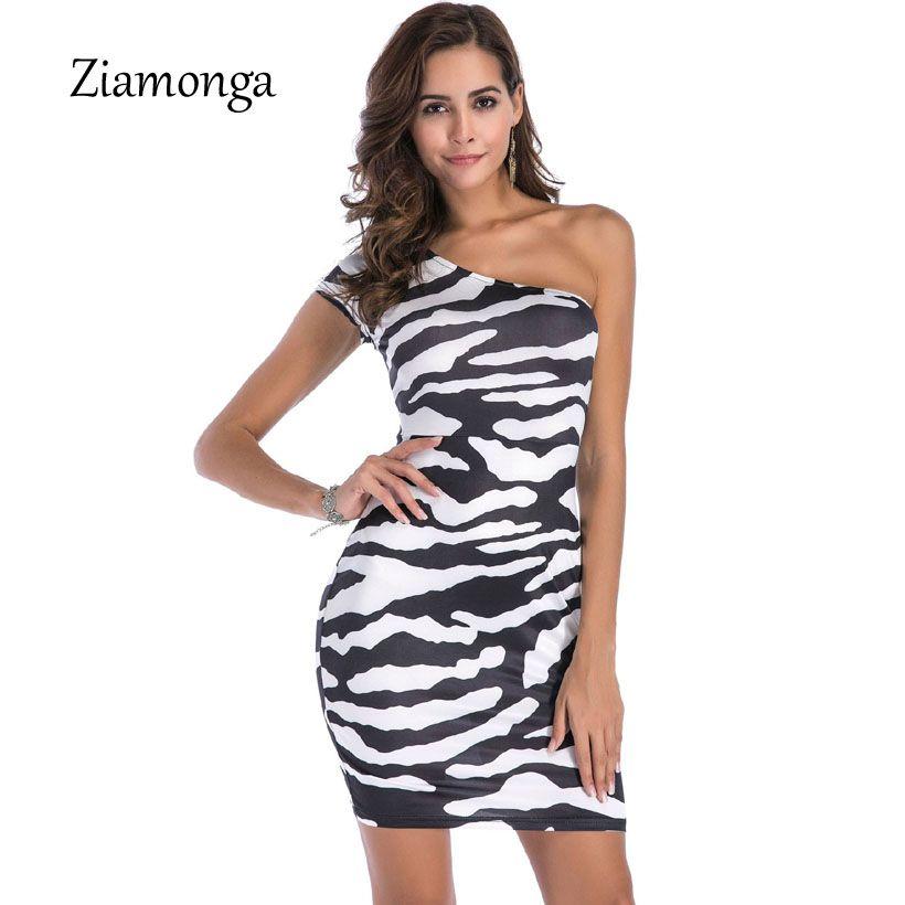 1ac5dc397f5c 2019 Ziamonga 2018 Summer Sexy One Shoulder Irregular Club Party Dresses  Fied Zebra Printed Pencil Bodycon Dress Women Plus Size From Jujubery, ...