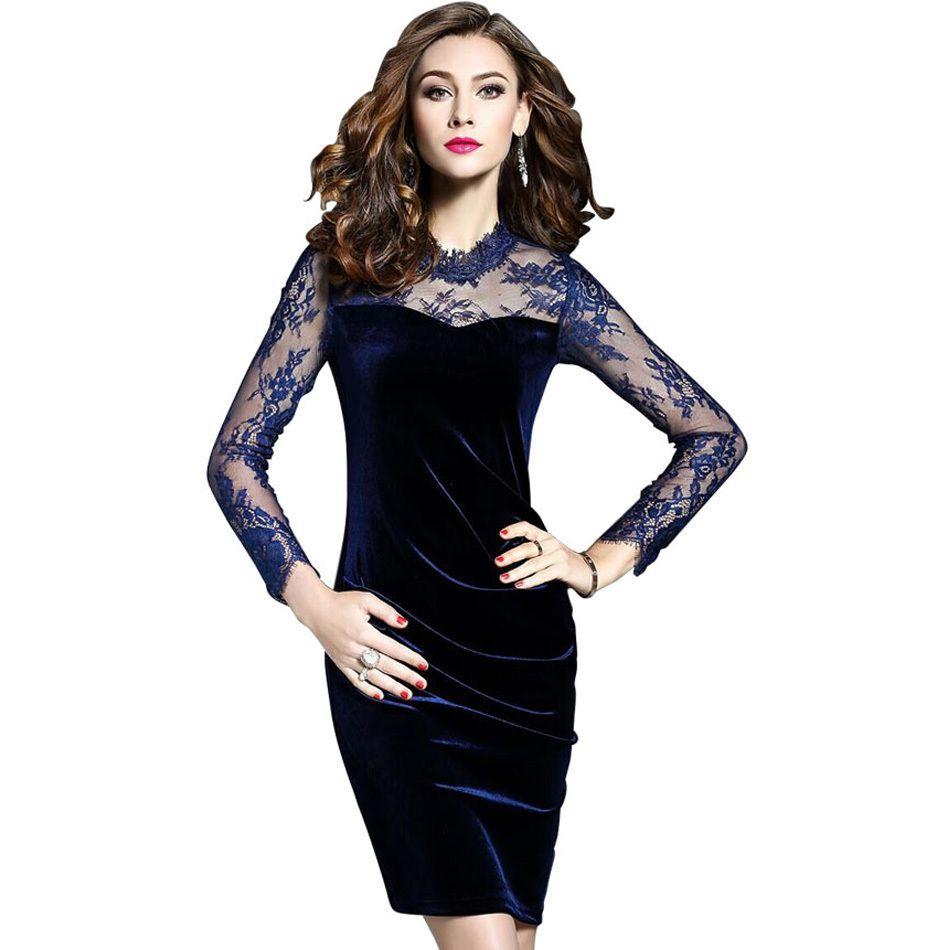 Elegant Lace Velvet Dress Pencil Party Black Blue Sheath Solid Full Sleeve  Plus Size 2019 Spring Autumn Women Bodycon Dresses Long Dress Women Long  Sleeve ... 816393be1825