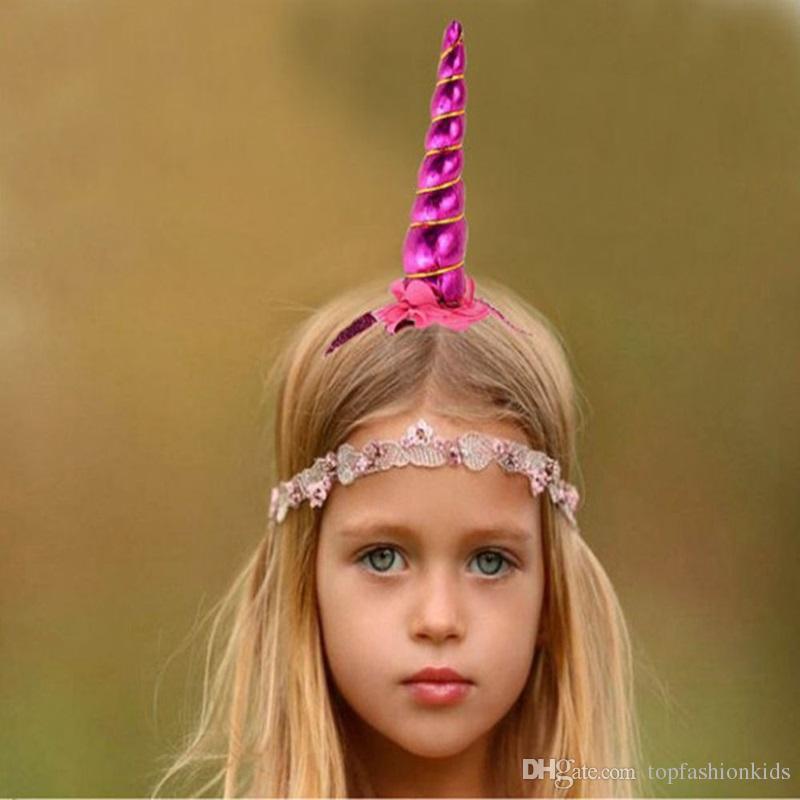 Einhorn Hörner Haarband Kids Infant Cartoon Mädchen Handgemachte Haar Dekorative DIY Stirnband Baby Haarschmuck Geburtstagsgeschenke