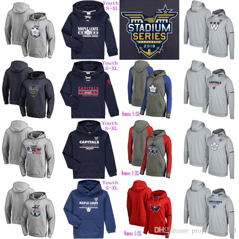 buy popular c805b 398d8 Mens Lady Youth 2018 Stadium Series Pullover Hoodie Jersey Washington  Capitals Toronto Maple Leafs 100% Stitched Hockey Jerseys Mix Order