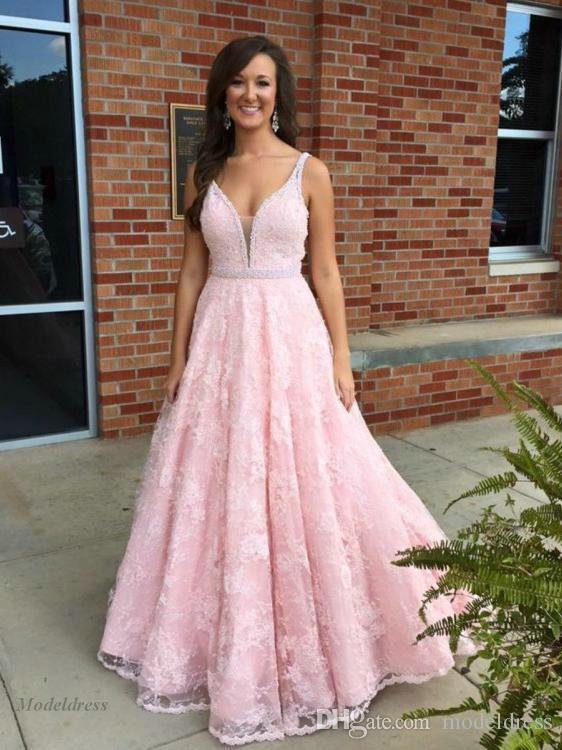 Pink Lace Prom Dresses 2018 Long A Line Floor Length Spaghetti Straps  Beadings V Neck Elegant Graduation Dresses For Party Vestidos De Fiest  Modest Prom . 7dea19fddf67