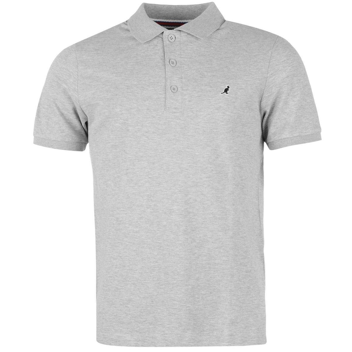 Kangol Brit Fit Polo Shirt Mens Light Grey Marl Collared T Shirt Top