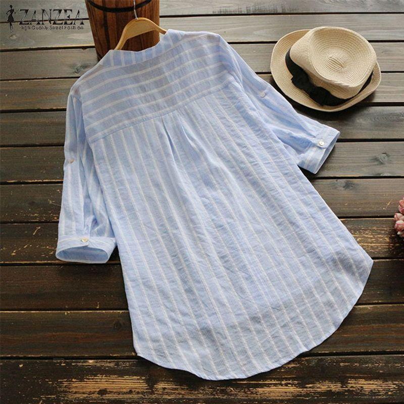 68aaf34f6cc 2019 ZANZEA Women'S Cotton Linen Blouse Female Casual Shirt Striped Plus  Size Blusa 2018 Autumn Top Ladies V Neck Vestdio Femininas From Vanilla06,  ...