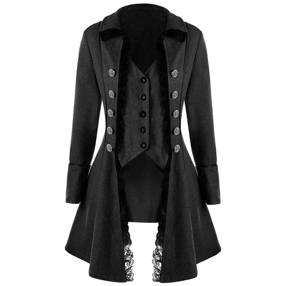 Mujer Negro Trench Jacket Niñas Compre Coat Fiesta Gothic Casual qx48XZ