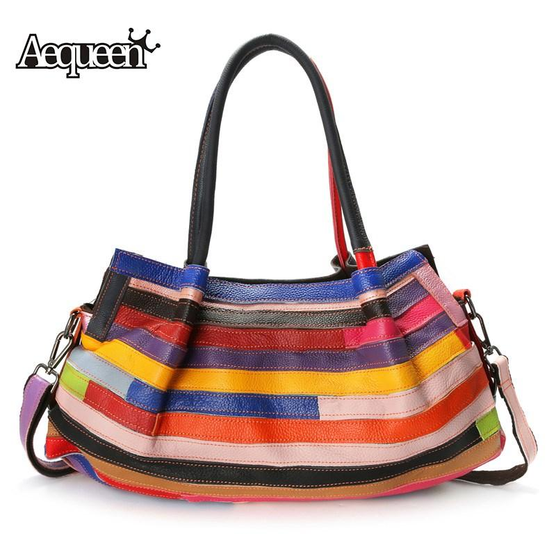 83745b1748af AEQUEEN Fashion Patchwork Handbags Casual Women Genuine Leather Floral  Handbag Women Bags Designer Shoulder Bag Lady Crossbody Leather Bags For  Women Hobo ...