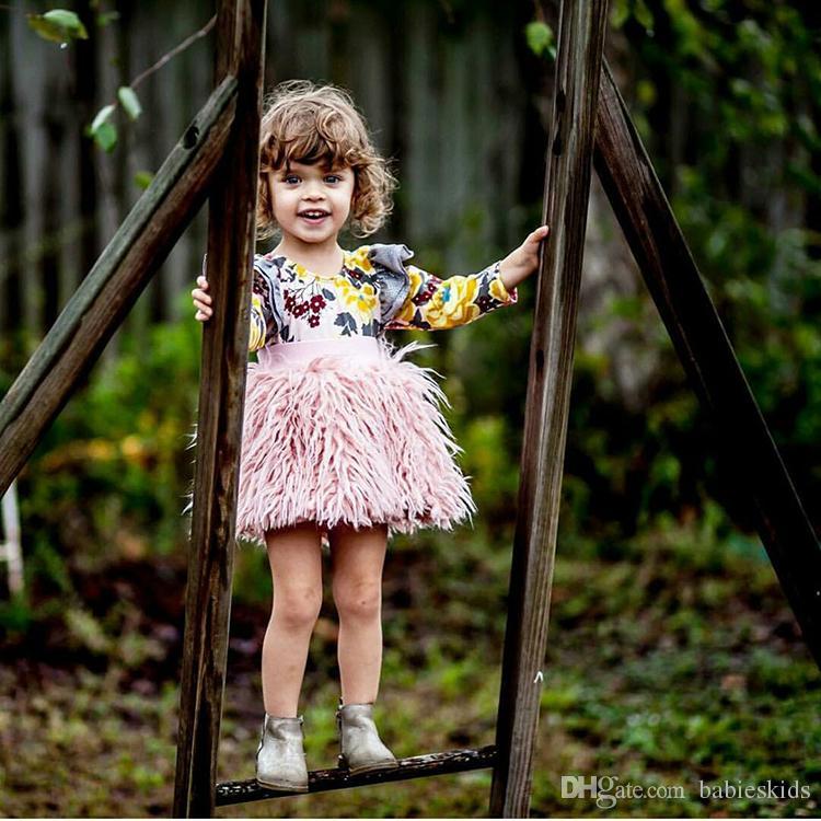 2018 Ins Tutu Skirt Pink For Girls Faux Fur Skirt For Wedding Party Kids Princess Skirt Tulle Fluffy Little Baby Girl Pettiskirt Wool
