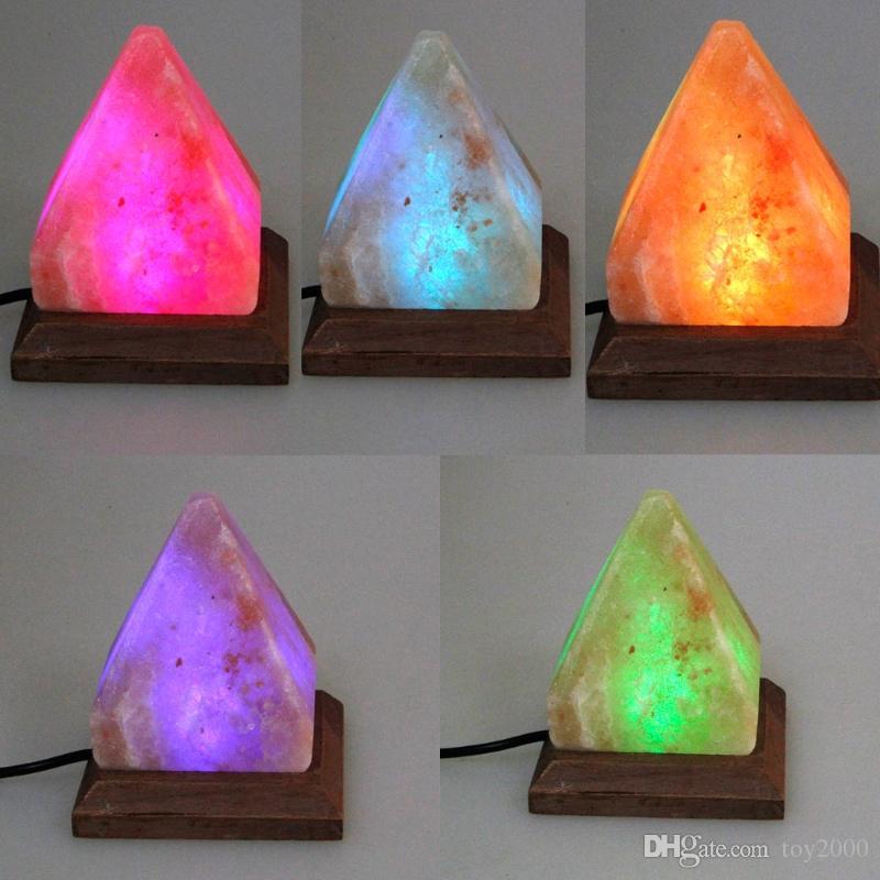 Lámpara de mesa de sal Lámpara de mesa Lámpara de escritorio Luz de la noche Pirámide Cristal Roca Lámpara de madera Dormitorio Habitación Decoración Artesanía Adornos Regalo MYY