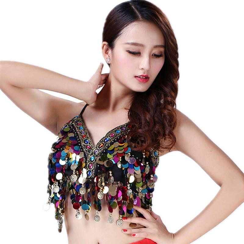 0af76648aa 2019 Sexy Women Belly Dance Costumes Sequin Bra Top Clothes Bras Handmade  Sequins Tassel Beads Mermaid Body Chain Halter Cropped Tops From Harrietai