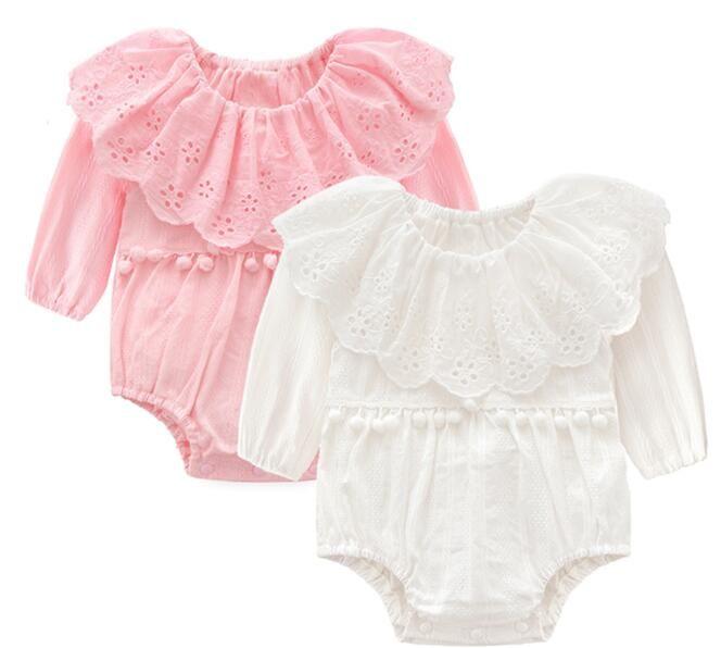 f34b6da3c2bd 2019 Baby Girl Clothing Spring Fall 100% Cotton Romper Round Collar ...