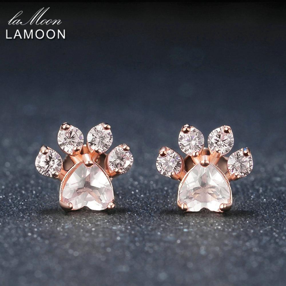 36d24efcd 2019 LAMOON Bear'S Paw Natural Rose Quartz Stud Earrings 925 Sterling Silver  S925 Gemstone Fine Jewelry For Women Wedding EI040 2 S18101206 From  Shen012001, ...