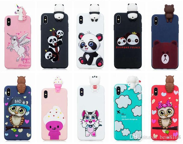 buy popular ae3e4 c4cec 3D Soft Silicone Case For Iphone XR XS MAX X 8 7 6 SE 5 5S Galaxy Note 9 S9  Owl Cartoon Unicorn Bear Panda Unicorn Rubber Cat Phone Cover