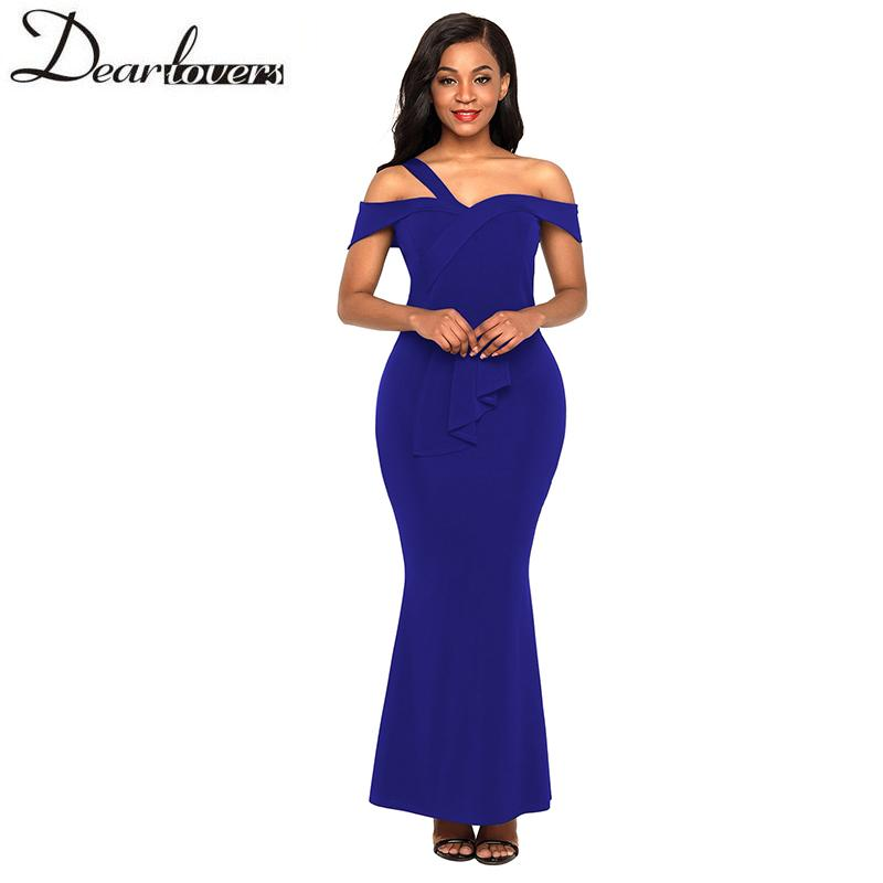 4cf33863f9d6f Dear Lover Elegant High Waist Dress Off Shoulder Party Summer Dress 2018  Maxi Long Sexy Club Bodycon Dresses Ruffles Red 61901