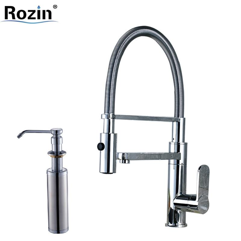 Luxury Kitchen Faucet Chrome Single Handle Brass Dual Spout Bathroom ...