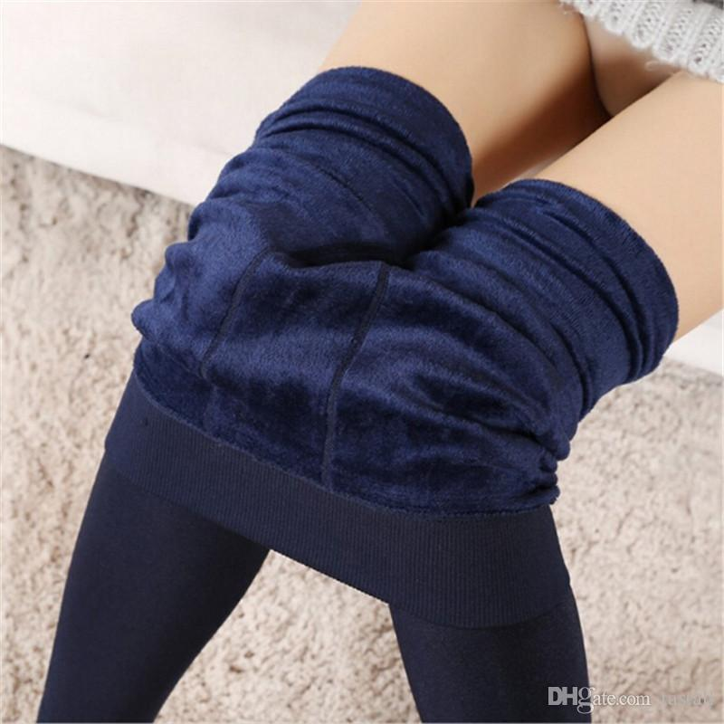 Women Winter Warm Leggings Elastic high waist plus velvet thick Artificial Slim Stretch Pants Thick Women