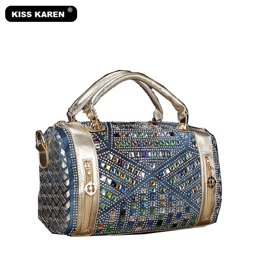 425546137e36 KISS KAREN Luxury Vintage Fashion Rhinestone Denim Handbags Women Shoulder  Bags Casual Totes Women Bag Noble Jeans Boston Bags Leather Goods Purses  For Sale ...