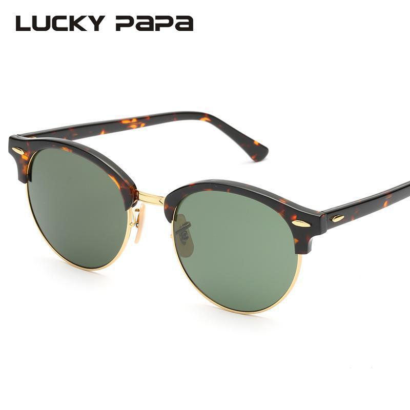 b89791fc77d LUCKY PAPA Round Club Glass Sunglasses Mirror Lens Acetate Frame Sun Glasses  Men Women Driving Uv400 Oculos Master 4246 John Lennon Sunglasses Wiley X  ...