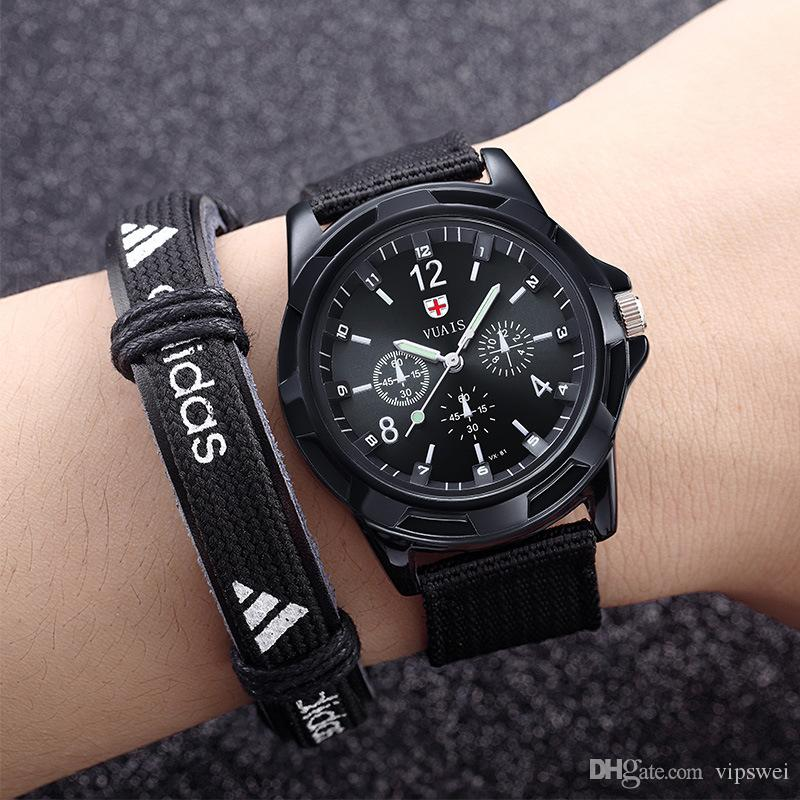 Compre Homens Top Nylon Marca De Luxo Relógios De Alta Qualidade Masculino  Casual Relógio De Quartzo Strap Lona Verde Do Exército Militar Esporte  Relógio De ... 279cca3abc887
