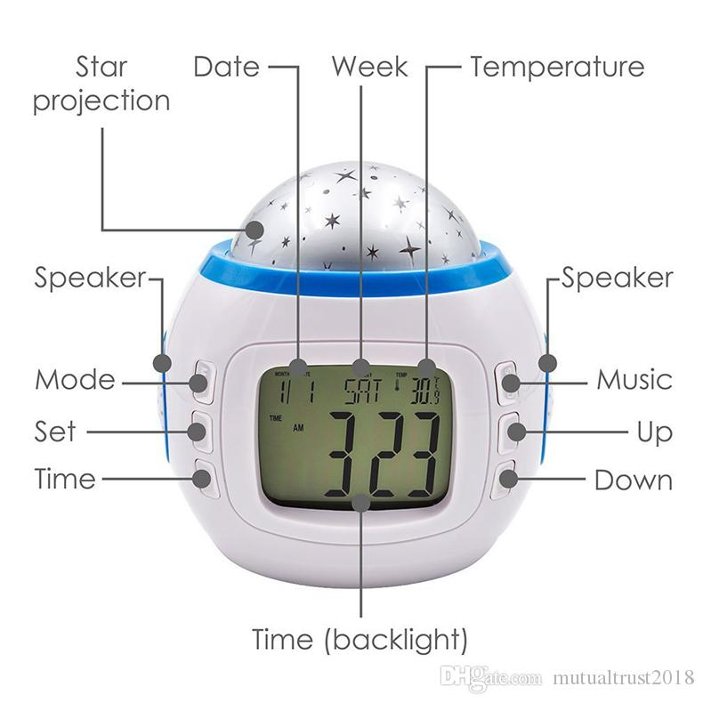 Music Starry Star Sky Led Projection Projector Digital Alarm Clock Calendar Thermometer for Kids Bedroom Night Light Color Changing