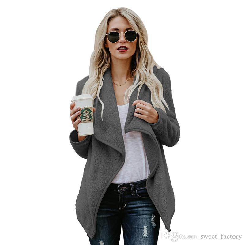 Women Sherpa Hoodie Outwear Long Sleeve Fleece Soft Coat Jacket Autumn  Winter Faux Fur Cardigan Ladies Hoodies Sherpa Coats Top Clothes Sweater  Jacket ... 2a78e0f9c