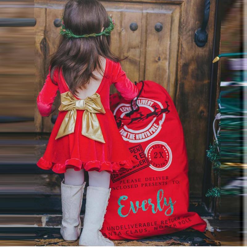 58337a7a1f1 Acheter Robe À Manches Longues Pour Filles 1 2 3 4 5 Année Bébé Rouge  Costume De Noël Backless Bow Enfants Princesse Anniversaire Vêtements  Enfants Robe ...