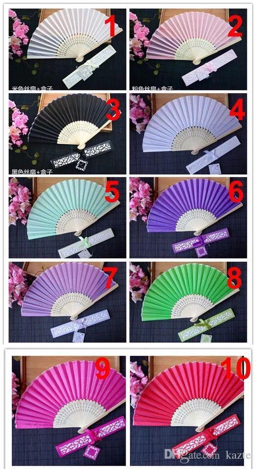 Barato Chinês Imitando Fãs De Mão De Seda com caixa de Casamento Em Branco Fã Para Presentes de Casamento Presentes de Noiva Por Pacote