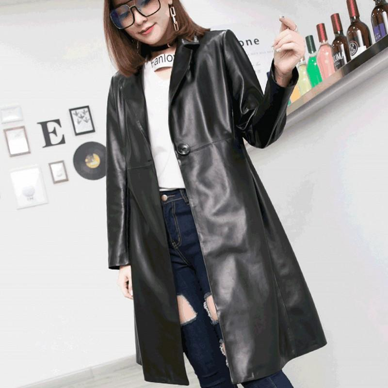 2f00eb8d43a6b 2019 Autumn 2018 New Womens Genuine Leather Jackets Korean Fashion Slim Fit  Black Long Jaqueta High Street Full Sleeve Female Coats From Balljoy